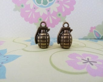 2 pcs - Bronze 3D Grenade Charm