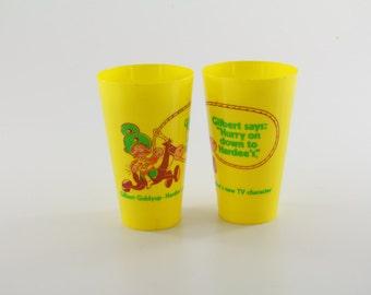 Two Vintage Hardee's Milkshake Cups - Gilbert Giddyup