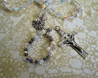 Irish Bride Sterling and Swarovski Crystal Wedding Rosary-Special Occasion Irish Shamrock Rosary-Celtic Brides Rosary