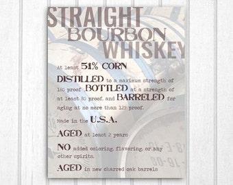 Straight Bourbon Whiskey Typography Print