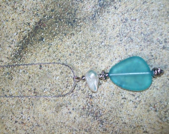 Freeform blue sea glass pendant with freshwater pearl, free shipping in US