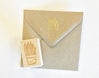Aloe Stamp - hand drawn succulent - botanical stamp - nature stamp - natural stamp - cactus - rubber stamp - ready to ship K0065