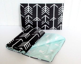 Arrow Diaper Clutch with Mint Deer Changing Pad Diaper Bag Travel Pad