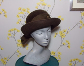 Vintage Ladies Bowler Brown Hat With Nylon Bow and Gold Buttons Feature Bermona Trend London