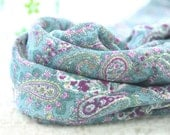 "Paisley Cotton Double Gauze Fabric - Blue & Purple - 58"" Wide - By the Yard 83625"