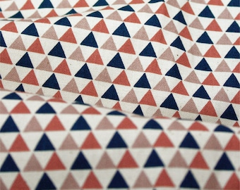 """Mini Triangles Cotton Fabric, Geometric Fabric - Brown Mix - 44"""" Wide - Fabric By the Yard 67340"""