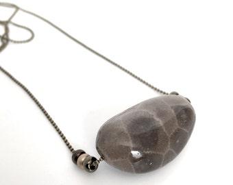 Petoskey Stone Sliding Stone Necklace - Ball Chain