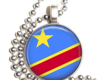 Congo Flag Art Pendant, Earrings and/or Keychain, Round Photo Silver and Resin Charm Jewelry, Flag Earrings, Flag Key Fob