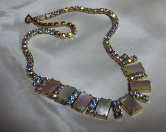 Stunning 1960's Genuine Mother of Pearl Aurora Borealis Crystal Necklace / Choker