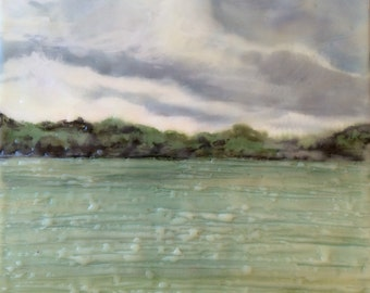 coming storm  - 7.5x6.5 - original encaustic painting peaceful, impressionist, landscape, clouds, mountains