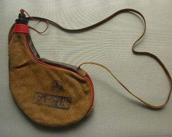 Vintage Spanish Wine Water Bota Suede Leather Canteen Flask Drinking Pouch Hiking Camping