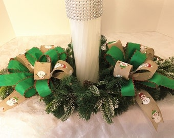 Christmas centerpiece/candle ring Christmas decor Christmas dining