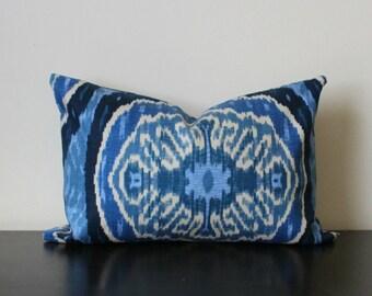 Decorative Throw Pillow Cover, Blue Ikat Lumbar Pillow Cover, 12x16,12x18, Duralee Throw Pillow,Toss Pillow, Accent Pillow, Sofa Pillow