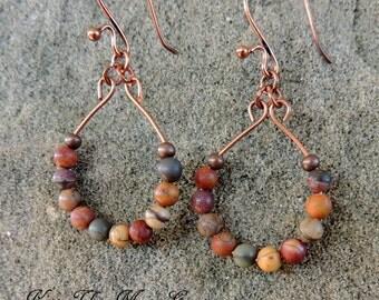 Red Creek Jasper Drop Earrings - dangle earrings - teardrop earrings