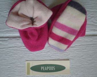 Cashmere slippers, PEAPODS cashmere baby booties,soft slippers, socks, pink cashmere,  cashmere booties double thick 9-18 months
