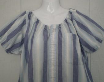 Peasant Blouse upcycled men's shirt, 48 inch ladies Large, blue stripe, cotton, ren faire, boho, loose blouse, short sleeve, tunic