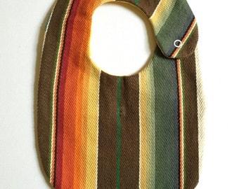 Brown Serape Bib, Mexican Blanket Bib, Unisex Baby gift