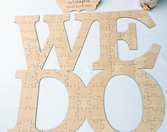 We Do Puzzle Guestbook, We Do Wedding Guestbook Puzzle, Wedding Guest Book, Wedding Puzzle Guest Book, Wood Puzzle Guestbook, 100 pieces
