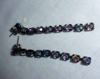 Beautiful Vintage Aurora Borialis Dangle Earrings