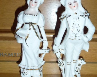 Vintage RANSGIL  Porcelain Collector's Figurines Made in USA   24 Kt. Gold Accents