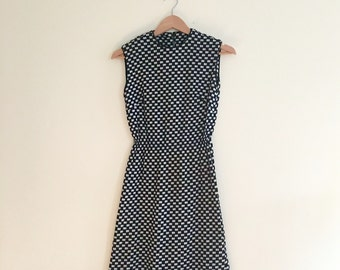 Vintage 60s Checkered Sheath // Mod Dress // Day Dress //  Knit Secretary Dress // 1960s