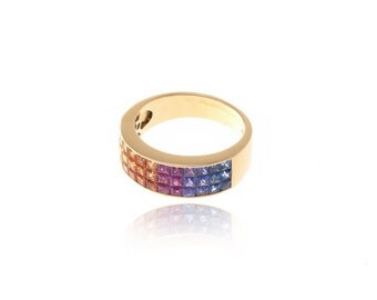 Multicolor Rainbow Sapphire Invisible Set 18K Gold Ring (3.55ct tw): SKU 55678