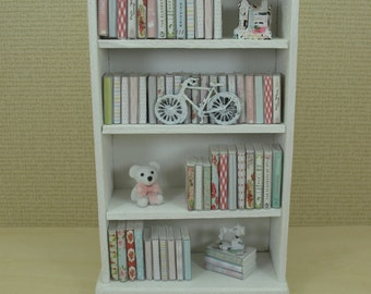"""Gaël dollhouse Miniature Wooden cabinet is filled books Furniture library shabby chic"""" - Handmade   Vintage  in 1:12 scale"""