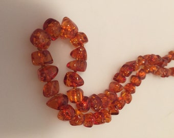 Vintage GENUINE Honey AMBER Nugget NECKLACE Baltic Amber 20""
