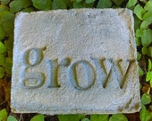 Handmade Stamped Cement Garden Word Stone SMALL:  Personalize with Herbs, Veggies, Flowers, Name, Date, Address, Year