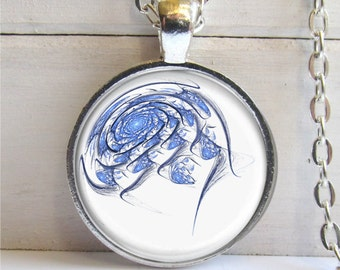 Blue Eye Swirl Pendant, Swirling Blue Eye Necklace, Fractal Art Jewelry