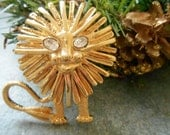 Vintage Lion Brooch Designer Signed