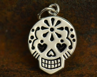 Silver Plated Bronze Mexican Sugar Skull Charm