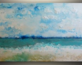 """18""""x36 Original abstract painting Acrylic Painting on Canvas Seascape Painting Abstract Art Original Painting Acrylic Teal Blue Original Art"""