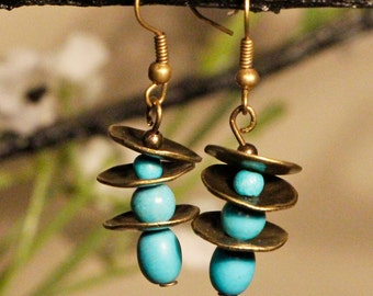 Bronze Turquoise Earrings Free Worldwide Shipping