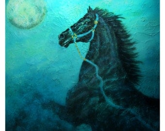 8 by 8 Original Horse Print. Moon, Dancing, Teal, Dreamy, Black Horse, Stallion, Turquoise, Home Decor, Equestrian,, Horse Lover, Nursery,