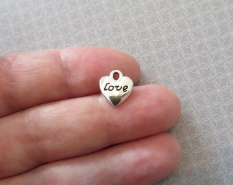 10 Small Heart Love Charms Silver Tone Valentine Hearts Charm Jewelry 10x10.5 mm NOTE SIZE