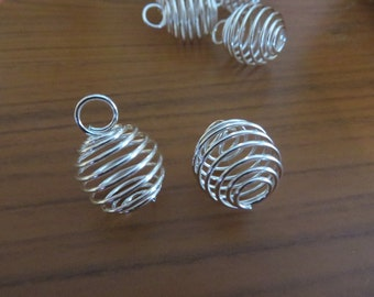 6 Small Bead Cages Silver Plated Wire Wraps Great for Small Crystals, Beads, Small Treasures  About 18x14 mm