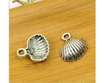 8 Sea Shell Charms Ocean Sea Life Beach Cruise Silver Tone Shells Jewelry Craft Supplies 17x18 mm