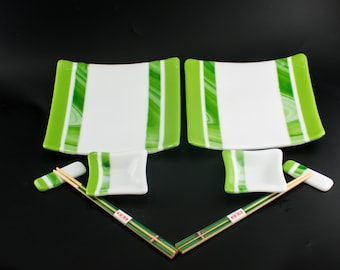 Glass Dinnerware Set, Sushi Set for 2, Square Plates, Small Bowls, Chopstick Rests, Chopsticks, Green and White, Unique Gift for Couples