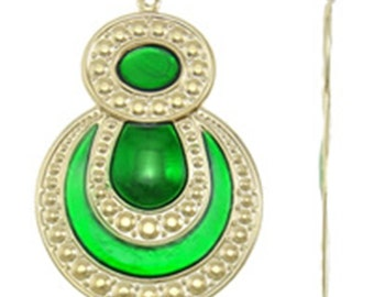 2pc 48x32mm gold plated iron with enamel pendant-10201