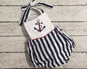 Nautical  Baby Romper with embroidery anchor monogram included