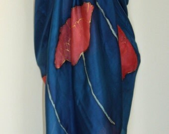 Hand Dyed Navy with Red Poppy Design Silk Sarong
