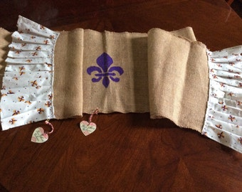 LSU Burlap Fluer De Lis Table Runner