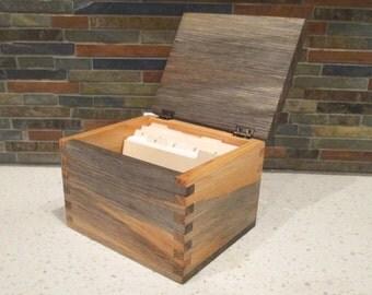 Recipe Box, 3 x 5 Recipe Card, Blue Pine Recipe Box, Index Card Box, Desk Organizer, Wood Box, Keepsake Box, Jewelry Box, Little Wood Box