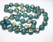 Vintage Blue Cloisonne Enamel Bead Necklace 1940s Jewelry
