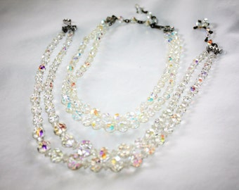 Vintage Crystal  Necklace, 2 AB Crystal Necklaces, Double Strand Necklace, Vintage 1950s