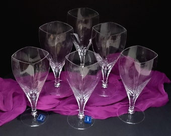 Mikasa Panache Crystal Iced Beverage 15.5 ounce Large Goblets, France Lead Crystal, Gorgeous Set of 6, Modern Styled Crystal Stemware