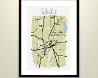 Dallas Texas Map Poster: Custom Map 11x14 Vintage Poster- Wedding - Personalized  (frame not included)