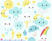 80% OFF - INSTANT DOWNLOAD - Kawaii Weather Clipart and Vectors for personal and commercial use
