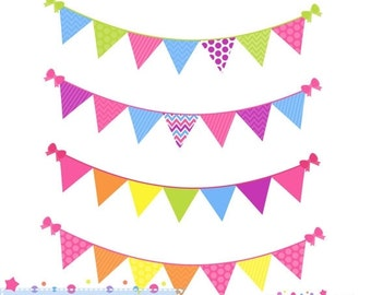 80% OFF - INSTANT DOWNLOAD,  rainbow bunting banner clipart for personal and commercial use